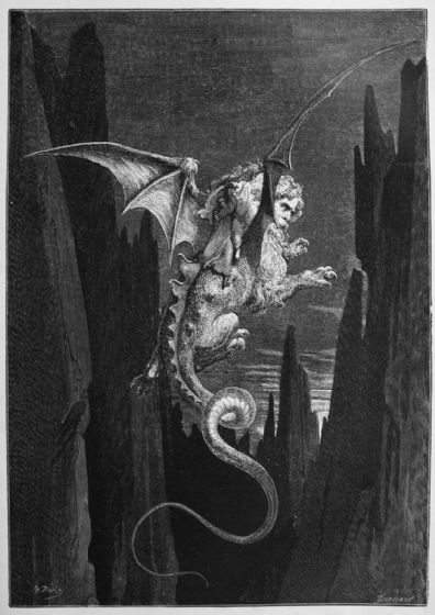 Dore, Gustave: New Terror. (Illustration from Dante's Inferno) Fine Art Print/Poster. Sizes: A4/A3/A2/A1 (003971)